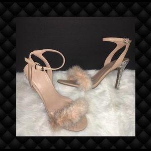 Feather & Diamonds Nude Custom Heels 10M